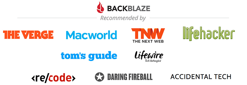 Backblaze recommended by several companies