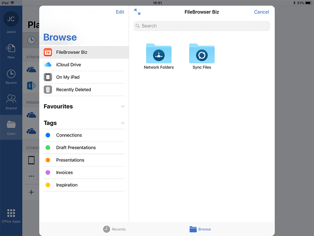 Step 3 Select Locations, then FileBrowser for Business