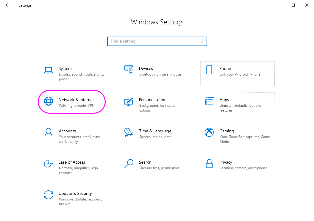 Settings network options