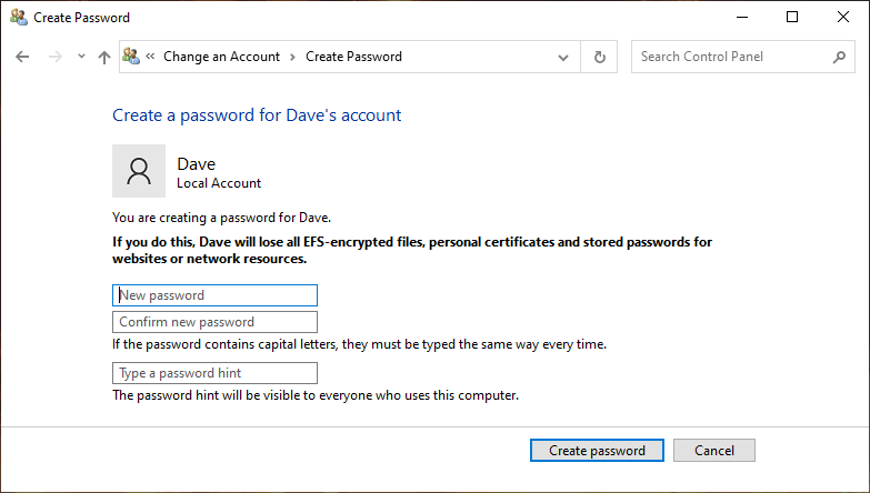 Setting a password on your Windows 10 account