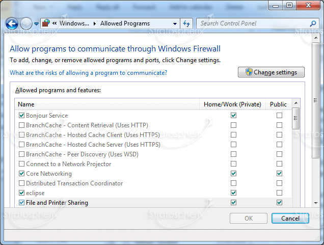 change from public network to private windows 7